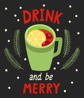Illustration vectorielle de l'affiche d'hiver avec une tasse de vin chaud sur fond noir. lettrage manuscrit de dessin animé avec tasse de boisson chaude et étoiles pour cartes, bannières, site web