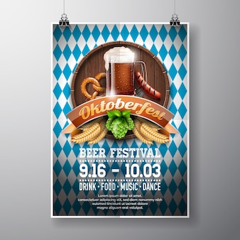 Illustration vectorielle d'affiche d'oktoberfest avec une bière sombre fraîche sur fond de texture de bois. modèle de prospectus de célébration pour le festival traditionnel de la bière allemande.