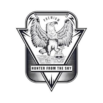 Illustration vectorielle aigle dessinés à la main badge