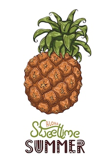 Illustration vectorielle d'ananas. lettrage: aloha sweet time summer.