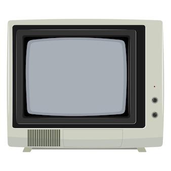 Illustration vectorielle d'un ancien téléviseur avec boîtier en plastique