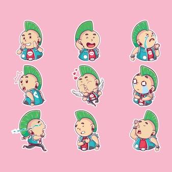 Illustration vectorielle ange punk rose tomber amoureux, kawaii et personnage drôle, style de coloriage de dessin animé