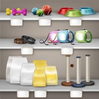 Illustration vectorielle de l'animalerie. accessoires pour animaux de compagnie et nourriture sur étagère isolé sur fond