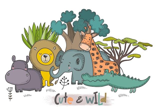 Illustration vectorielle d'animaux africains de dessin animé