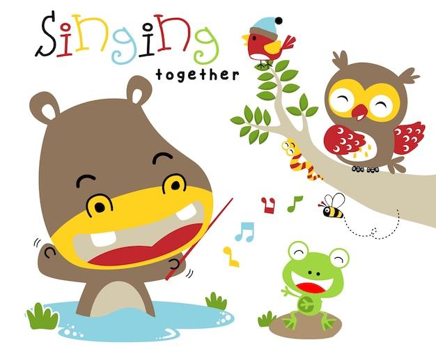 Illustration vectorielle avec des animaux de bande dessinée chantant ensemble.