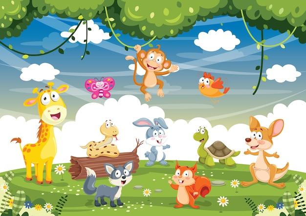 Illustration vectorielle des animaux de dessin animé
