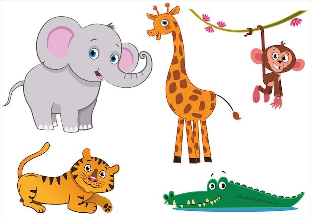 Illustration vectorielle d'animaux de la jungle
