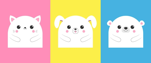 Illustration vectorielle d'animaux mignons. chat, chien et ours. vecteur eps 10