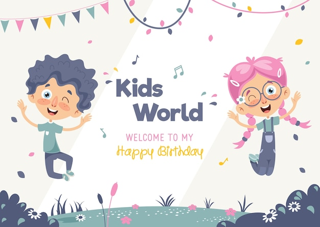 Illustration vectorielle d'anniversaire enfants modèle