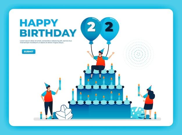 Illustration vectorielle anniversaire avec protocole de santé. joyeux anniversaire de quarantaine.