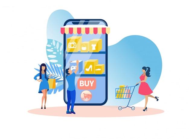 Illustration vectorielle d'application de magasinage en ligne.