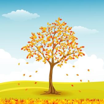 Illustration vectorielle de l'arbre de l'automne avec des feuilles qui tombent