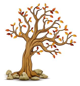 Illustration vectorielle de l'arbre de l'automne avec des pierres