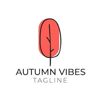 Illustration vectorielle d'un arbre rouge minimal et inscription vibes d'automne sur fond isolé blanc