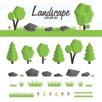 Illustration vectorielle d'arbres de couleur verte et d'herbes et de rochers de différentes tailles.