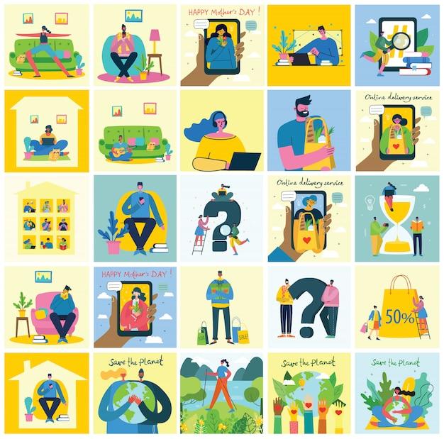 Illustration vectorielle arrière-plans eco du concept d'énergie écologique verte et citation sauver la planète, penser vert et recycler les déchets