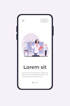 Illustration vectorielle d'assistance médicale en ligne. homme utilisant l'application smartphone pour consulter un médecin. patient de sexe masculin discutant avec un praticien sur internet