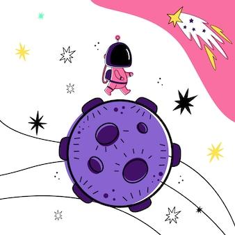 Illustration vectorielle d'un astronaute marchant sur une planète dans l'espace.
