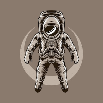Illustration vectorielle astronaute volant lune
