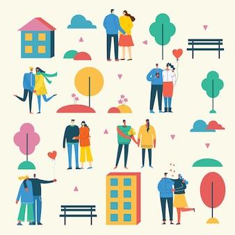 Illustration vectorielle au design plat de groupe de personnes amoureux, couples, coeurs en plein air dans le parc. carte de voeux le jour de la saint-valentin dans un design plat moderne