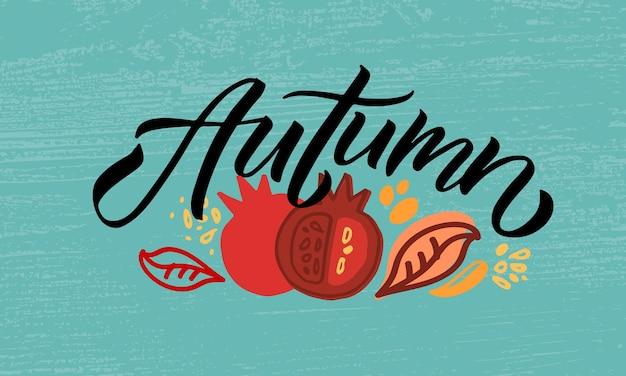 Illustration vectorielle d'automne avec la typographie de lettrage de la bannière d'affiche d'insigne d'icône d'automne avec