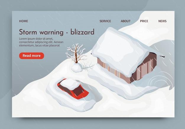 Illustration vectorielle avertissement de tempête blizzard 3d.