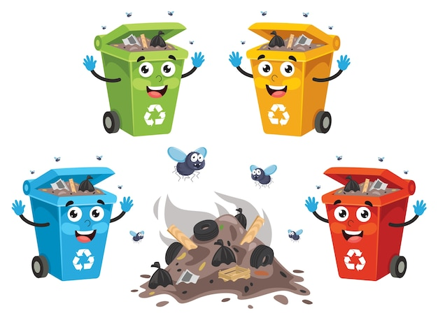 Illustration vectorielle de bac de recyclage