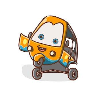 Illustration vectorielle bajaj jakarta transport en voiture dire bonjour et stand kawaii dessiné à la main