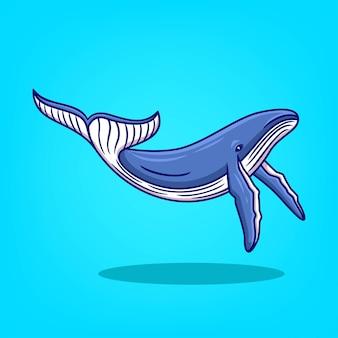 Illustration vectorielle de baleine bleue dessinée à la main icône dessin animé