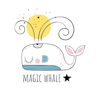 Illustration vectorielle d'une baleine mignonne. motifs scandinaves. fond de bande dessinée.