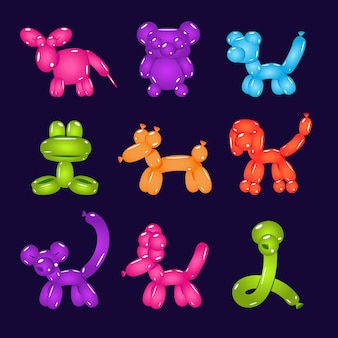 Illustration vectorielle de ballons colorés en forme d'animaux