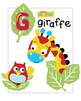 Illustration vectorielle de bande dessinée girafe et hibou