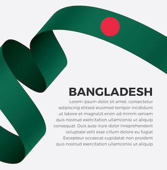 Illustration vectorielle de bangladesh ruban drapeau sur fond blanc vecteur premium