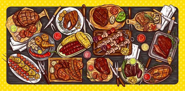 Illustration vectorielle, bannière culinaire, fond barbecue avec de la viande grillée, des saucisses, des légumes et des sauces.