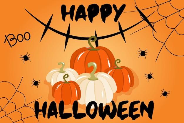 Illustration vectorielle avec une bannière pour halloween ou une invitation à une fête avec des citrouilles de toiles d'araignée