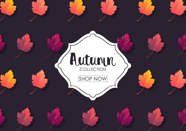 Illustration vectorielle de la bannière de vente de feuilles d'automne