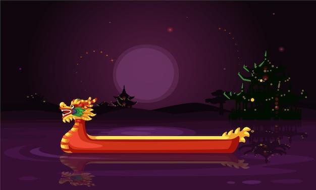 Illustration vectorielle de bateau dragon chinois nuit papier peint