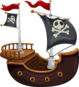 Illustration vectorielle de bateau pirate