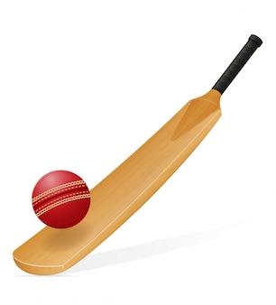 Illustration vectorielle de batte de cricket et balle