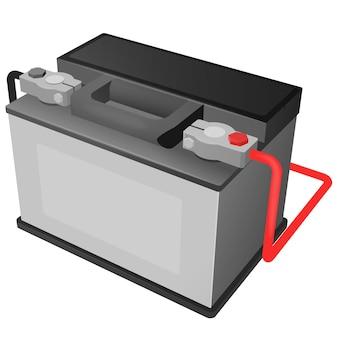 Illustration vectorielle de batterie de voiture avec bornes connectées
