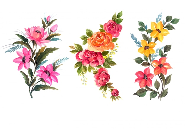 Illustration vectorielle de beau bouquet floral set