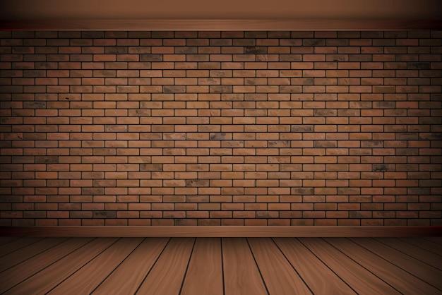 Illustration vectorielle beau mur de briques de bloc brun et alignement vintage de plancher de bois texture de fond.