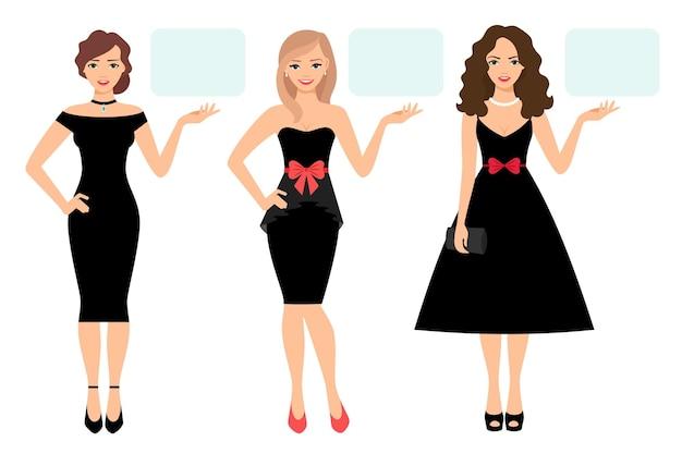 Illustration vectorielle de beauté femmes présentation. des femmes élégantes en robe noire élégante montrent ou présentent un produit isolé sur fond blanc
