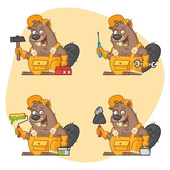 Illustration vectorielle, beaver master dans différentes versions partie 3, format eps 10