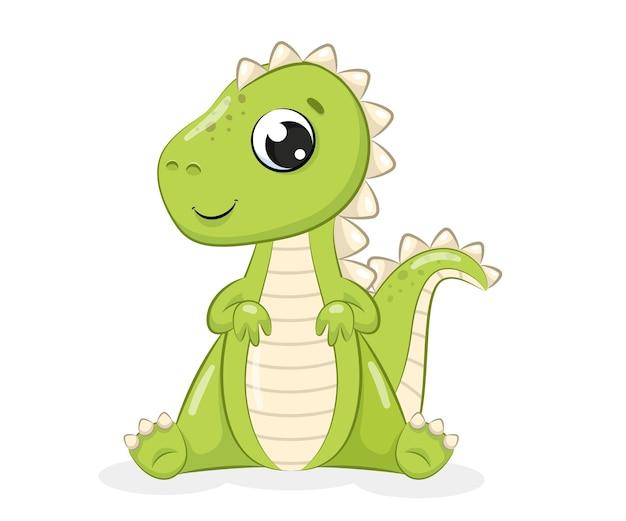 Illustration vectorielle de bébé mignon dinosaure illustration pour baby shower carte de voeux fête invitation vêtements de mode tshirt imprimer