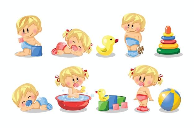 Illustration vectorielle de bébés garçons et bébés filles et ensemble de routine quotidienne d'illustrations de la petite enfance et du nourrisson de dessin animé mignon