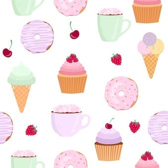 Illustration vectorielle de beignet isolée sur fond icône de beignet dans un style plat