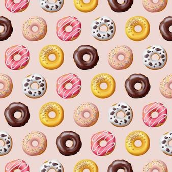 Illustration vectorielle de beignet modèle sans couture