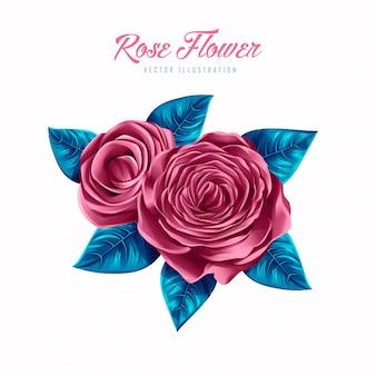 Illustration vectorielle belle fleur rose