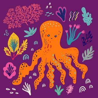 Illustration vectorielle avec une belle pieuvre drôle et d'autres éléments du monde sous-marin